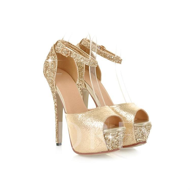 Peep Toe Platform Sequins Women's Sandals