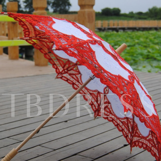 White and Red Lace Pattern Bridal Umbrella