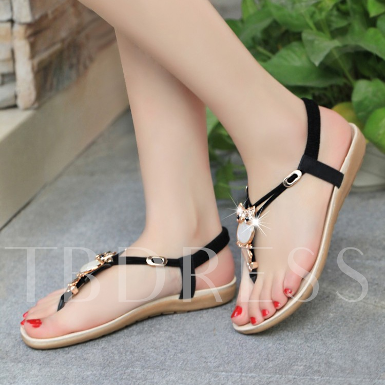 Rhinestone Decorated Thong Women's Flat Sandals