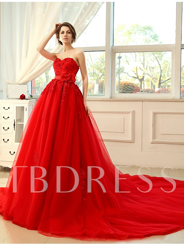 Image of Strapless Beading Lace Tulle Red A-Line Wedding Dress