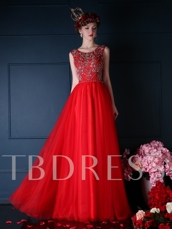 Image of A-Line Beadings Scoop Neck Floor-Length Prom Dress