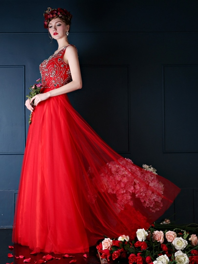 A-Line Beadings Scoop Neck Floor-Length Prom Dress