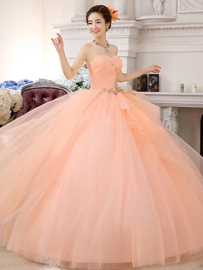 Flowers Sweetheart Pleats Ball Gown Beading Quinceanera Dress