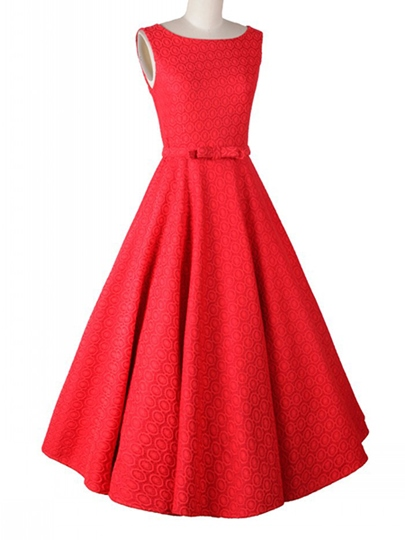 Backless Bowknot Decorated Sleeveless Women's Vintage Dress