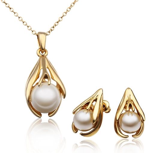 Golden Imitation Pearl Drop Women's Jewelry Sets Necklace and Earrings