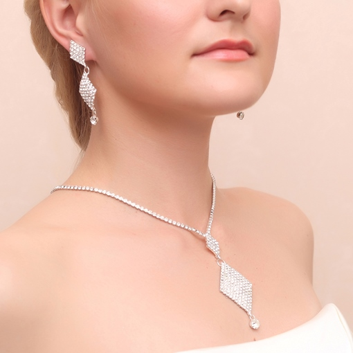 Rhinestone Wedding Bridal Jewelry Set (Including Necklace and Earrings)