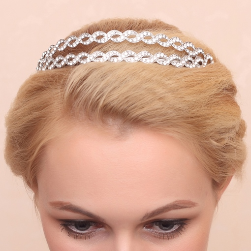 Wave Shaped Alloy with Rhinestone Wedding Bridal Tiara/Headband
