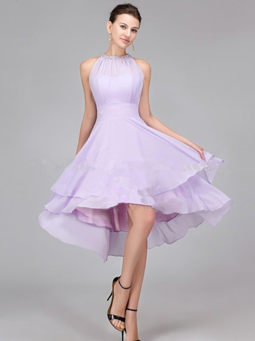 Beaded A-Line High Low Bridesmaid Dress