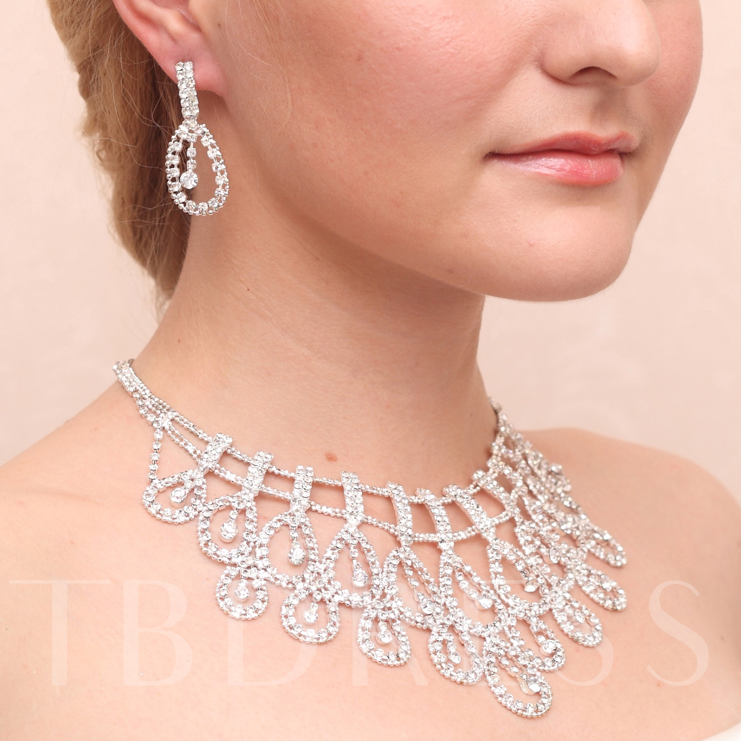 Wedding Bridal Jewelry Set with Shining Rhinestones