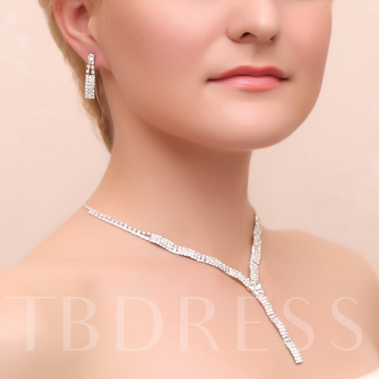 Rhinestone with Alloy Wedding Jewelry Set(Including Necklace and Earrings)