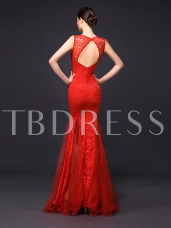 Straps Pearls Mermaid Sequins Beaded Lace Floor-Length Evening Dress