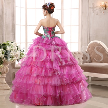 Sequins Sweetheart Ball Gown Appliques Quinceanera Dress