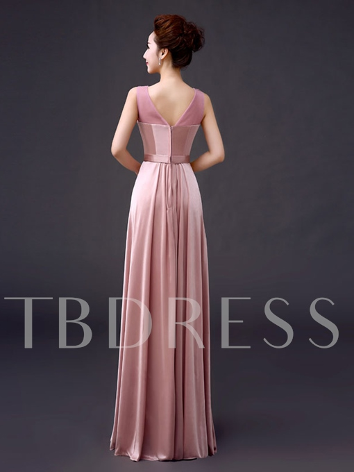 A-Line Round Neck Appliques Evening Dress