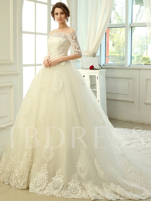 Cathedral Train A-Line Lace Half Sleeves Wedding Dress