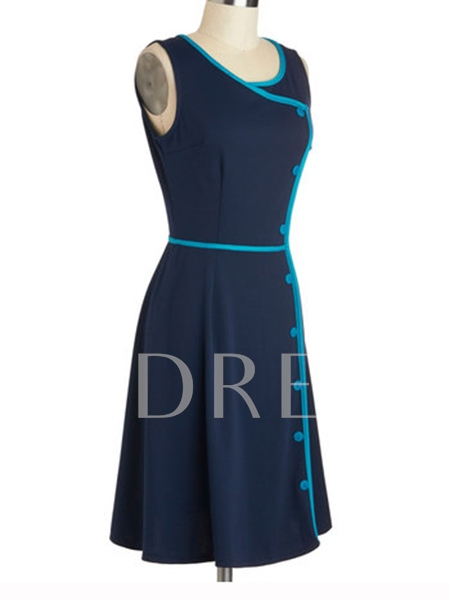 Retro Sleeveless Single-Breasted Women's Day Dress