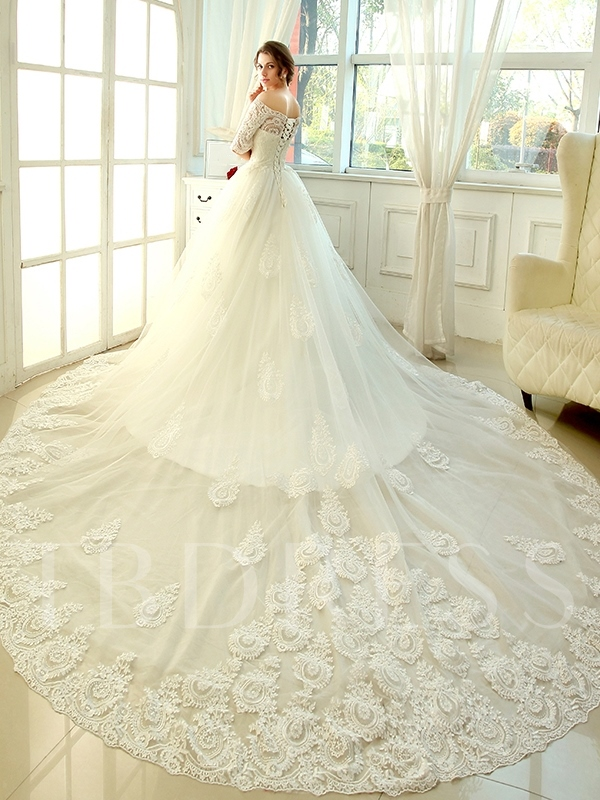 Cathedral Train A-Line Lace Half Sleeves Wedding Dress - Tbdress.com