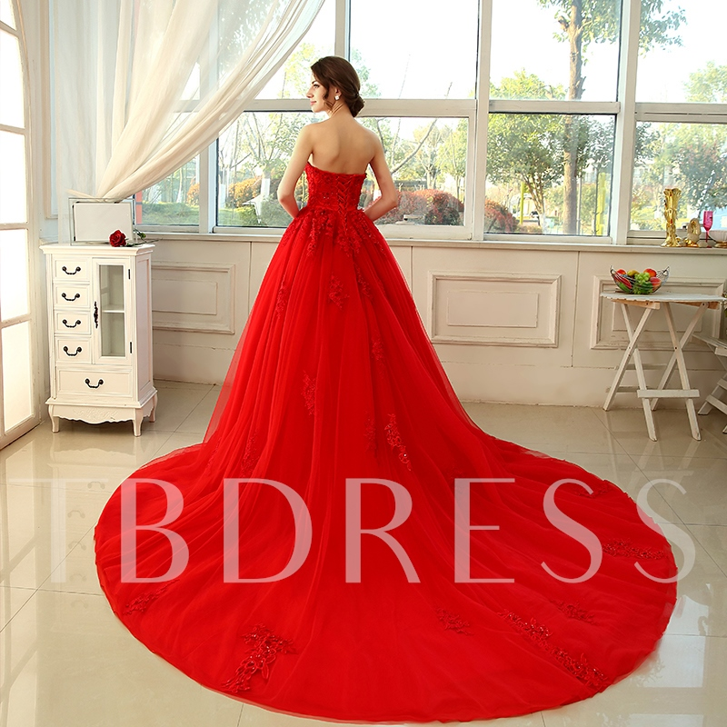 Strapless Beading Lace Tulle Red A-Line Wedding Dress
