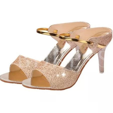 Sequins Decorated Stiletto Heel Women's Sandals