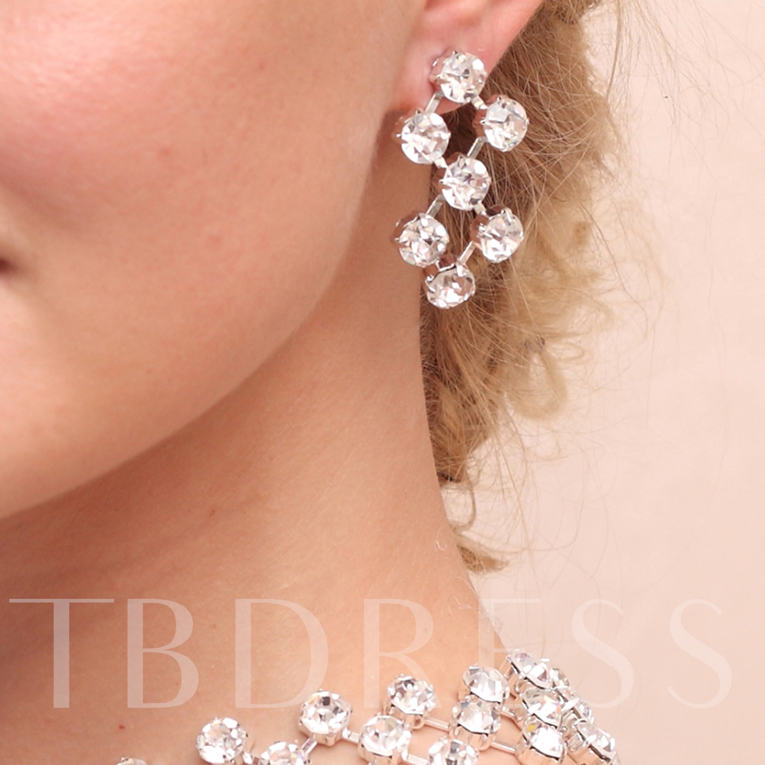 Rectangle Shaped Alloy With Rhinestone Wedding Bridal Jewelry Set
