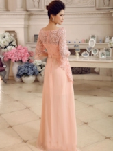 Half Sleeves Beading Lace Evening Dress