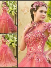 High Neck Lace Appliques Beaded Quinceanrea Dress