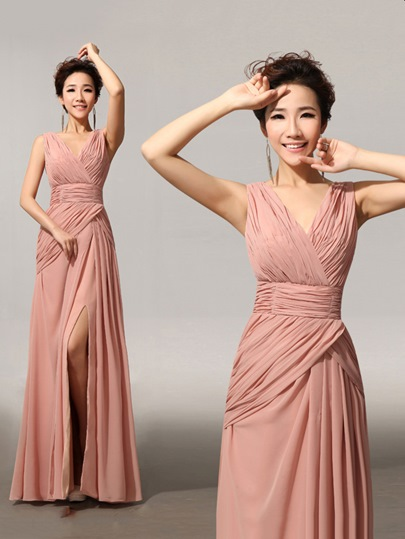 Split-Front V-Neck Pleats Bridesmaid Dress