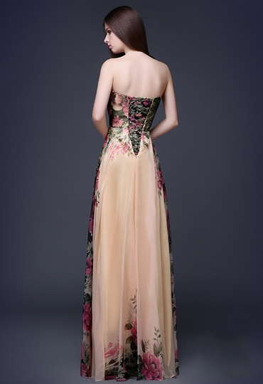 A-Line Sweetheart Flower Printing Lace-Up Prom Dress