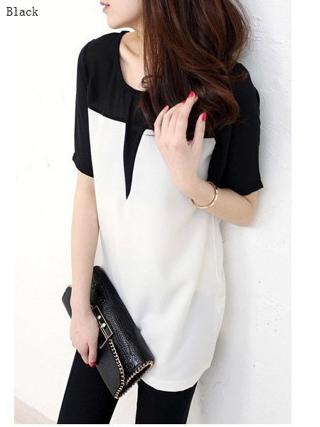 Regular Round Neck Patchwork Mid-Length Women's Blouse