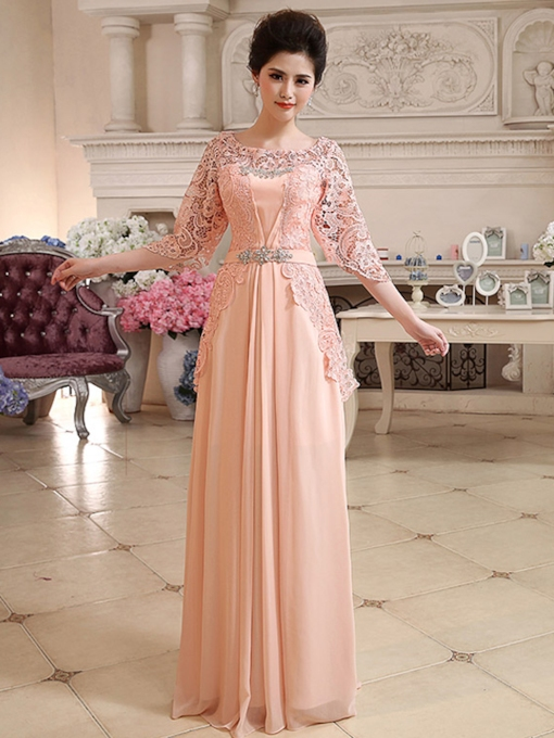 A-Line 3/4-Length Sleeves Lace Rhinestone Evening Dress