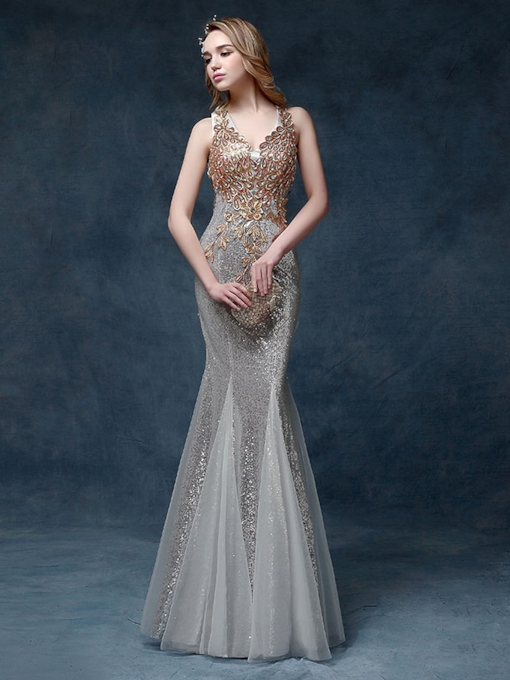 Mermaid V-Neck Sequins Appliques Floor-Length Evening Dress