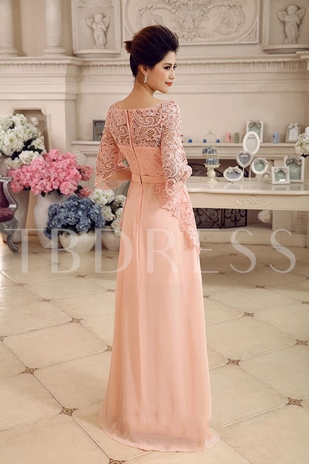 A-Line 3/4-Length Sleeves Lace Rhinestone Floor-length Evening Dress