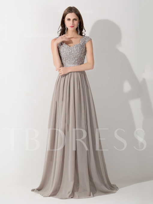 V-Neck A-Line Applique Evening Dress