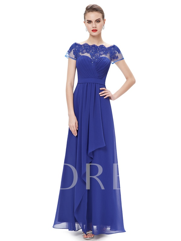 Cap Sleeves Bateau Neck Applique Ruffles Evening Dress
