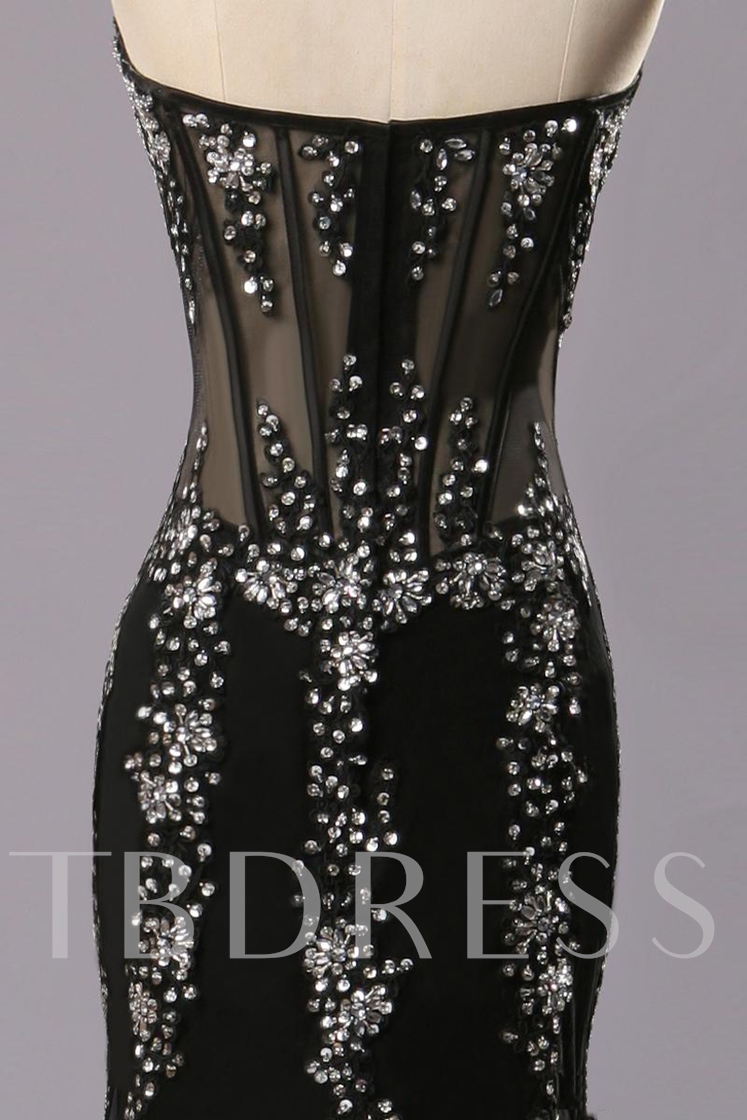 Mermaid Sweetheart Beaded Rhinestone Evening Dress