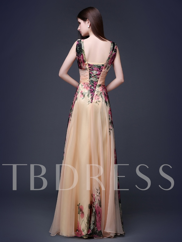 A-Line Printing V-Neck Flower Floor-Length Evening Dress
