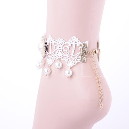 Lace Pearl Decorated Women's Anklet