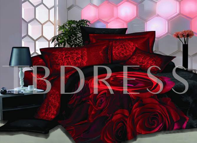 3D Red Roses Printed Luxury Cotton 4-Piece Bedding Sets/Duvet Cover