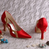 Red Satin Closed-Toe Winkle-Picker Wedding Shoes