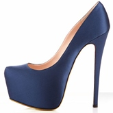 Blue High Heel Platform Pointed Toe Women's Pumps