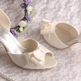 Bowknot Peep Toe PU High Heel Shoes & Wedding Shoes