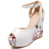 Floral Print Ankle Strap Wedges Women's Sandals (Plus Size Available)