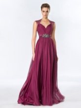 A-Line Floor-Length Rhinestone Lace Evening Dress