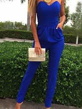Solid Color Pencil Pants Women's Jumpsuit