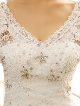 Cathedral Train V-Neck Beading Lace Princess Wedding Dress