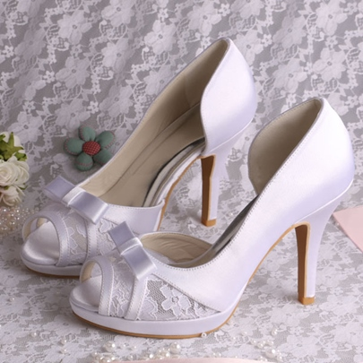lace satin stiletto heel peep-toe wedding bridal shoes