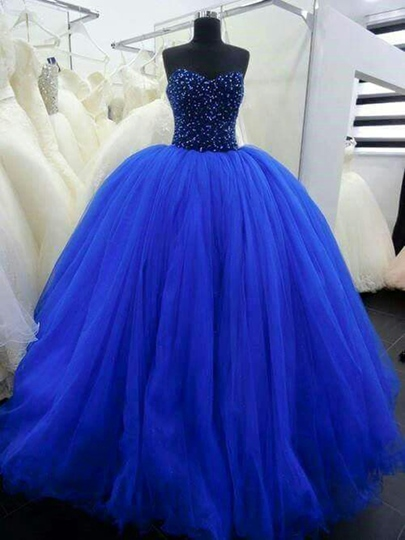 Tulle Sweetheart Beadings Ball Gown Floor-Length Quinceanera Dress