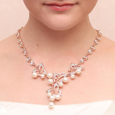 Rhinestone and Pearls Wedding Jewelry Set (Including Necklace and Earrings)