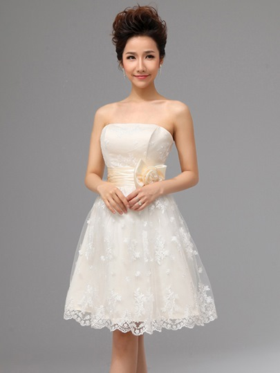 Short Knee-Length Strapless Beach Garden Lace Wedding Dress