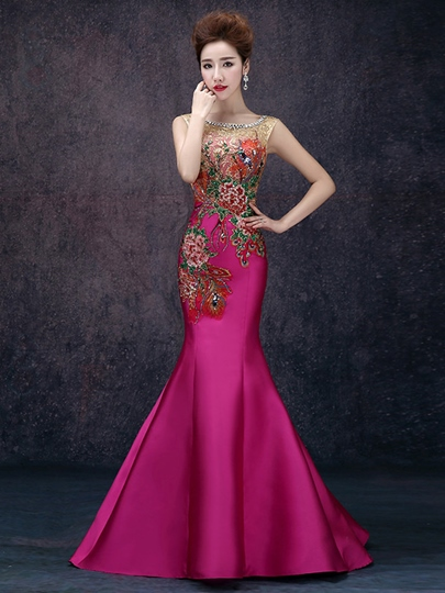 Mermaid Scoop Beadings Embroidery Evening Dress