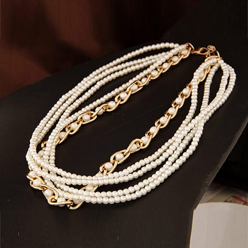 Manual Metal Multilayer Pearl Necklace